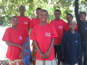 Group of children wearing Cisco tshirts