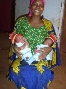 Upendo Herbert with her twin babies, Shadrack and Abedinego